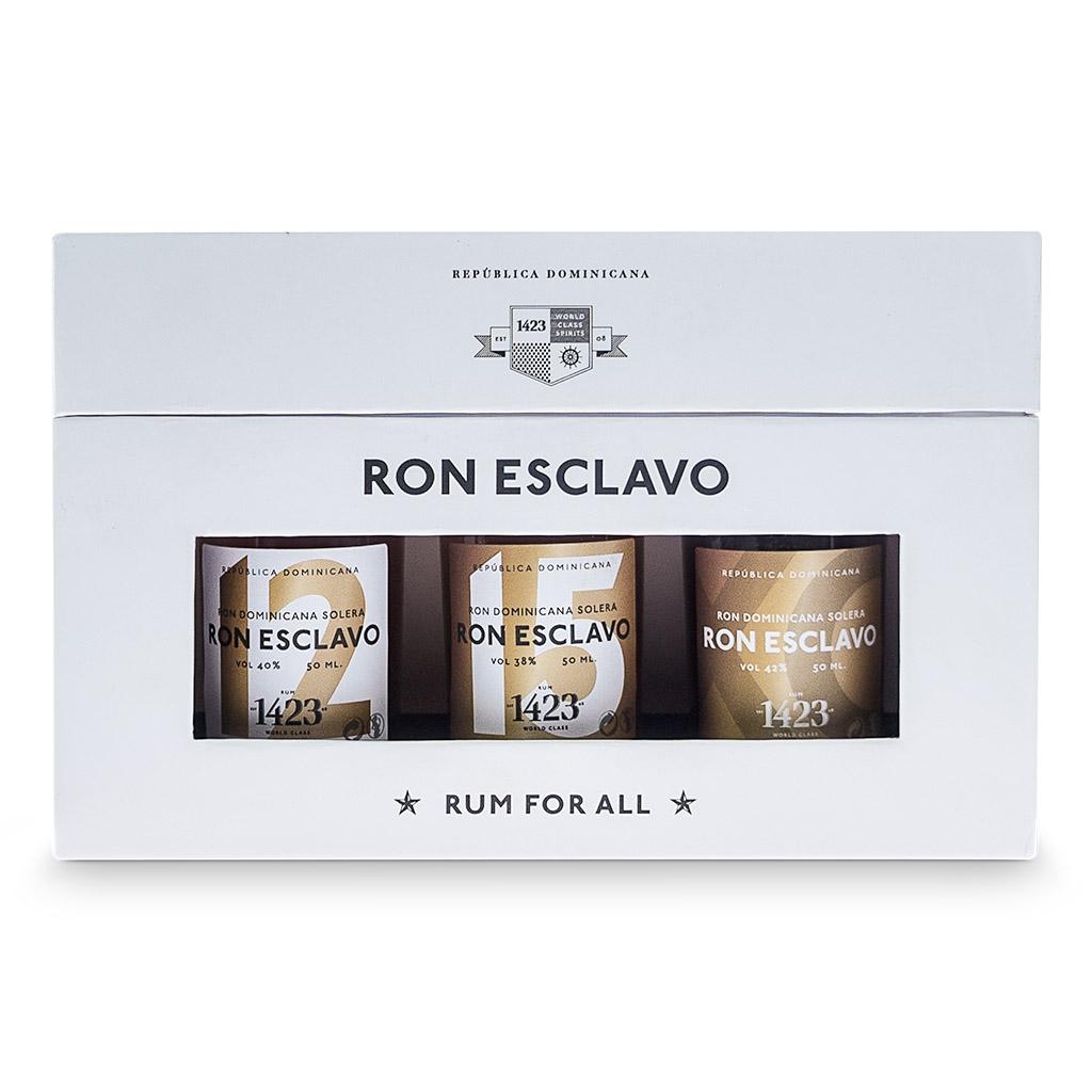 3 Ron Esclavo flasker rum i en gavæske, fra hedemanns.dk