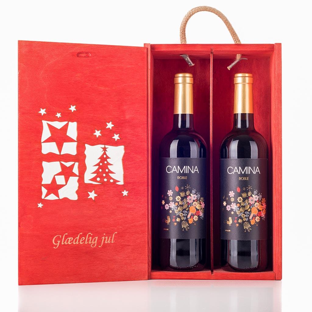 Vingave i julekasse med 2 flasker Camina Roble