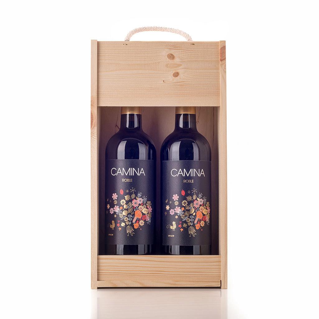 Vingave i træ med 2 flasker Camina Roble