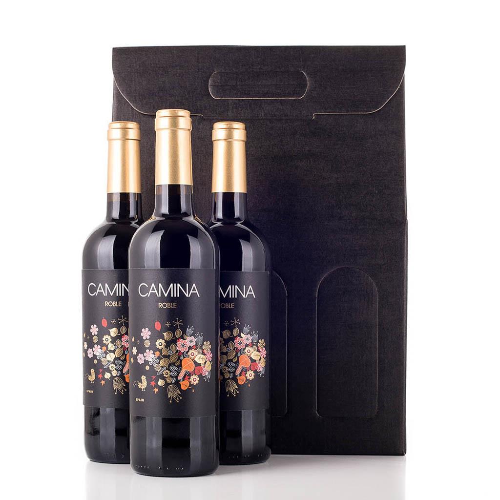 Vingave i gaveæske med 3 flasker Camina Roble