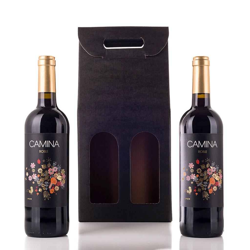 Vingave i gaveæske med 2 flasker Camina Roble