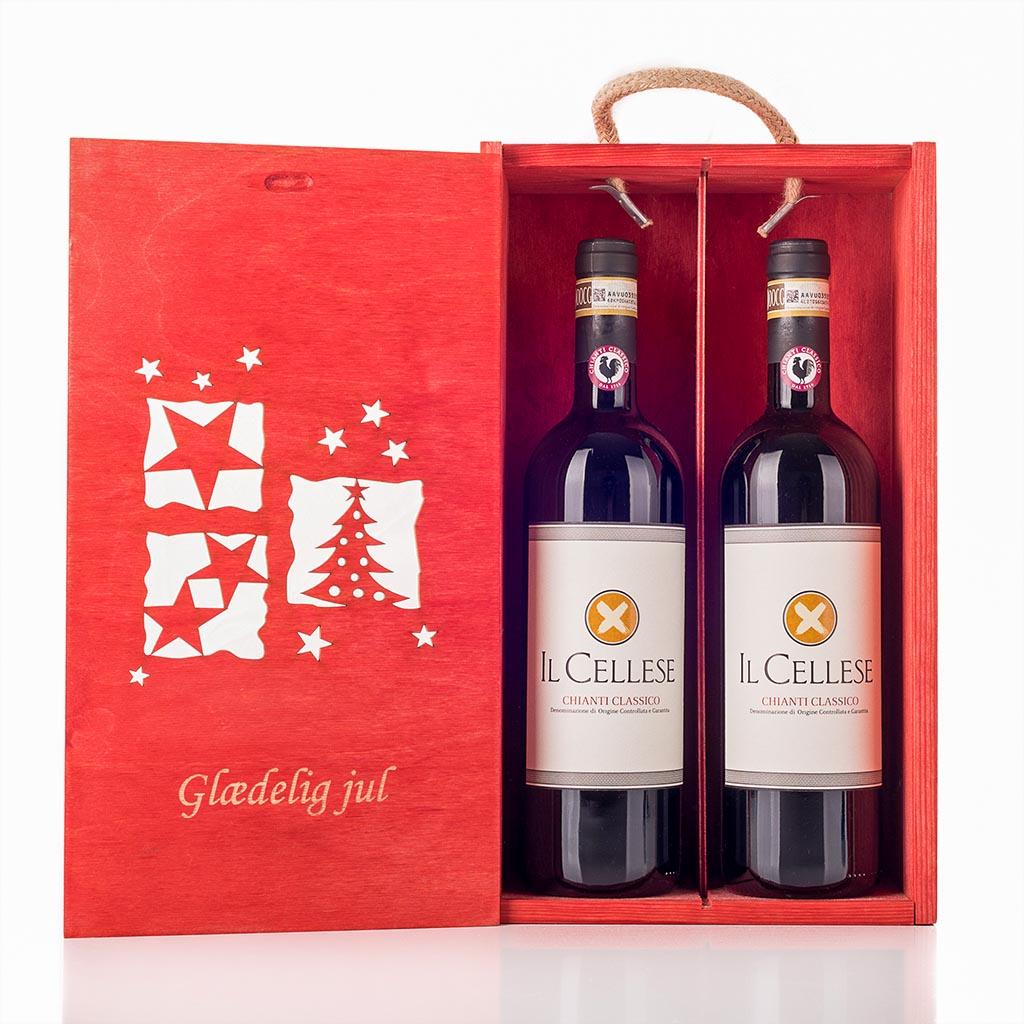 Julevingave i træ med 2 flasker Chianti Il Cellese