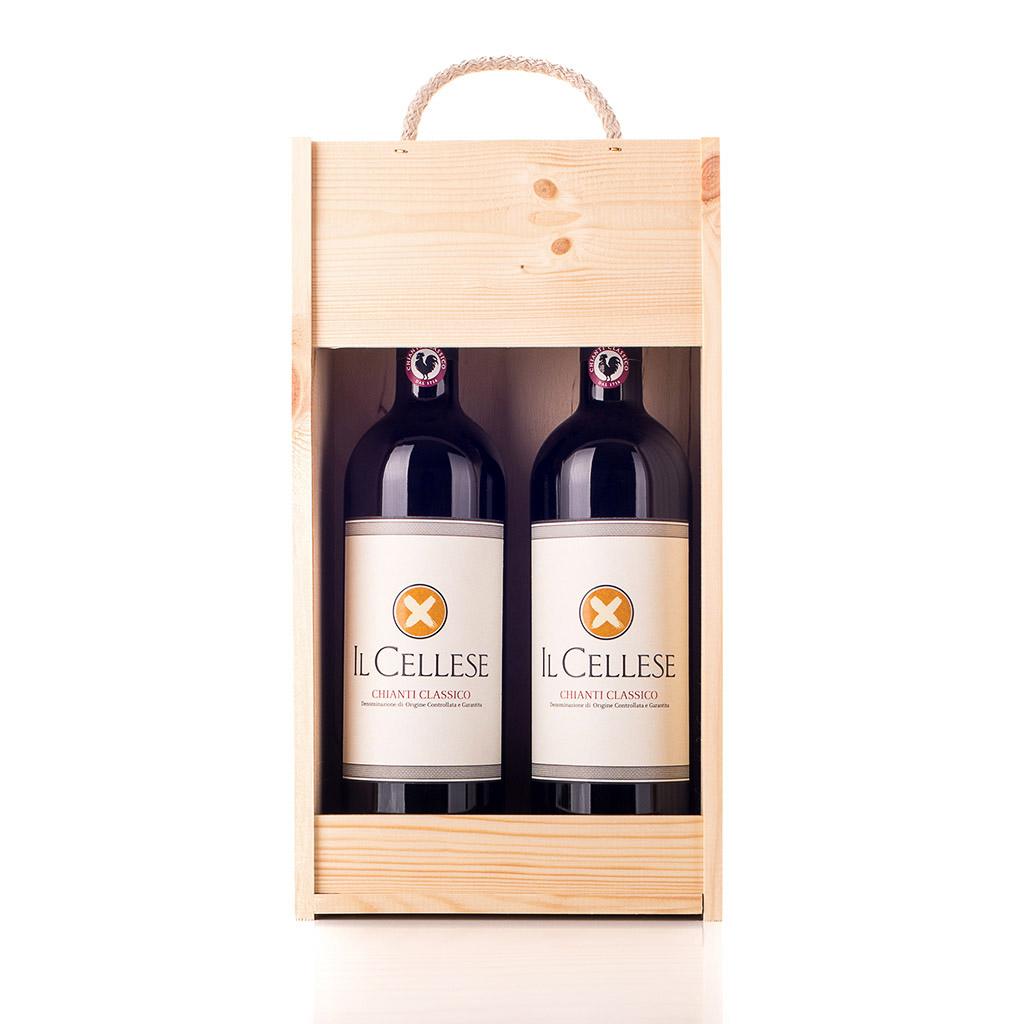 Vingave i træ med 2 flasker Chianti Il Cellese