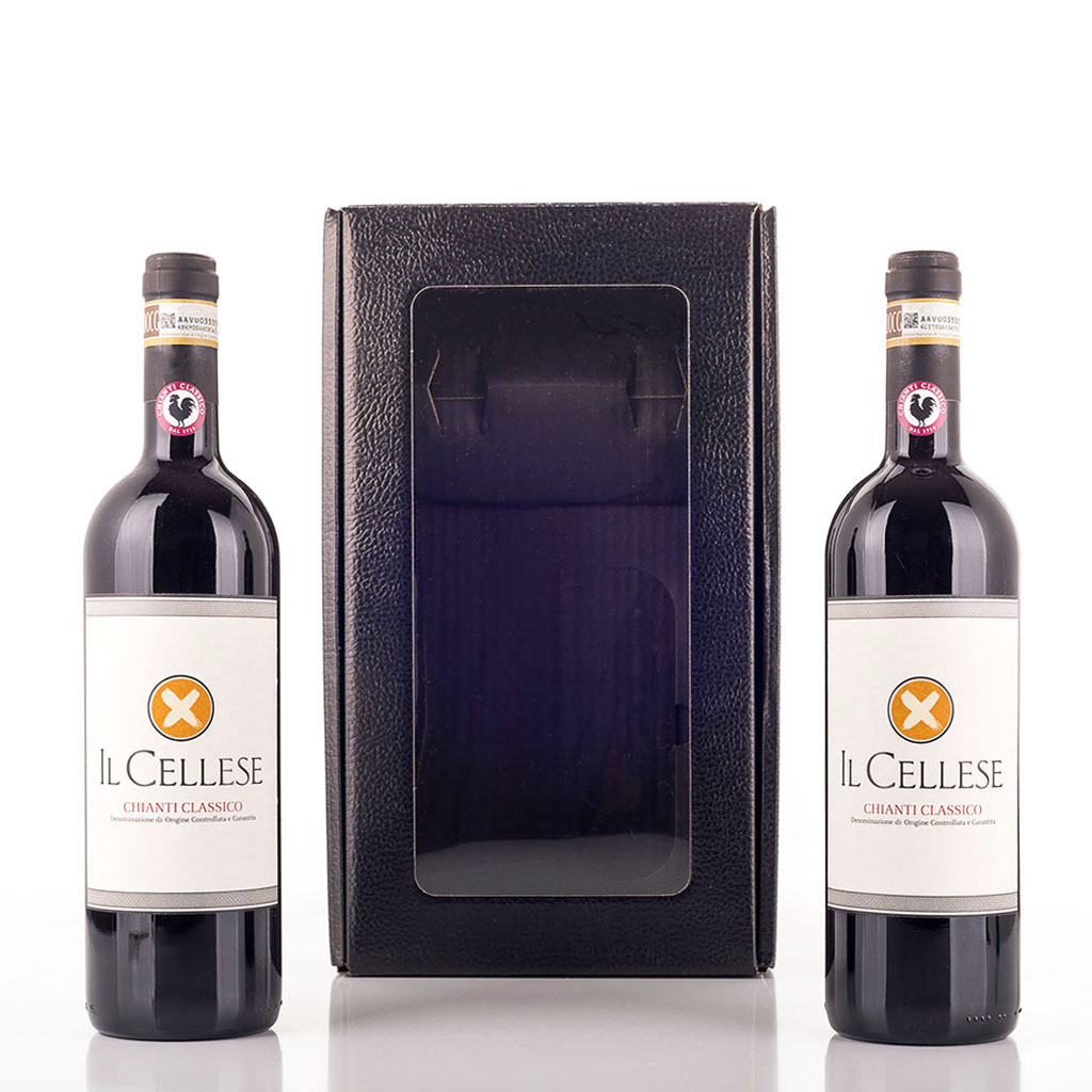 Vingave i gaveæske med 2 flasker Chianti Il Cellese