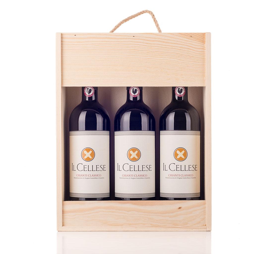 Vingave i træ med 3 flasker Chianti Il Cellese