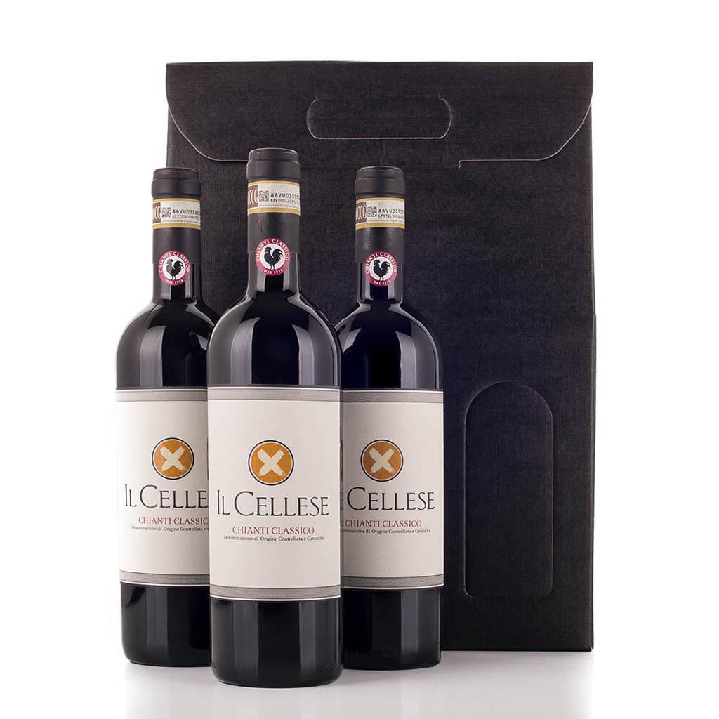 Vingave i gaveæske med 3 flasker Chianti Il Cellese