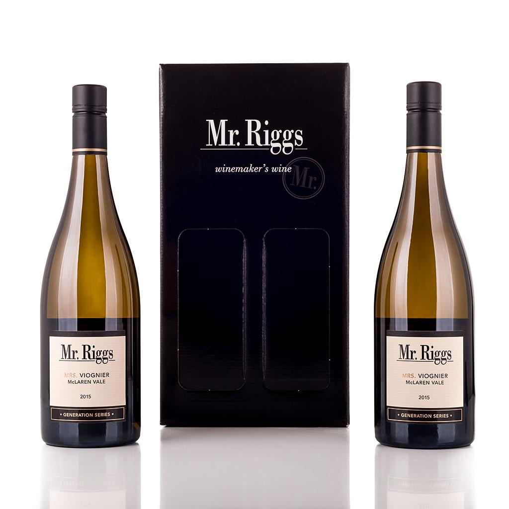 Vingave i gaveæske med 2 flasker Mr Riggs Viognier