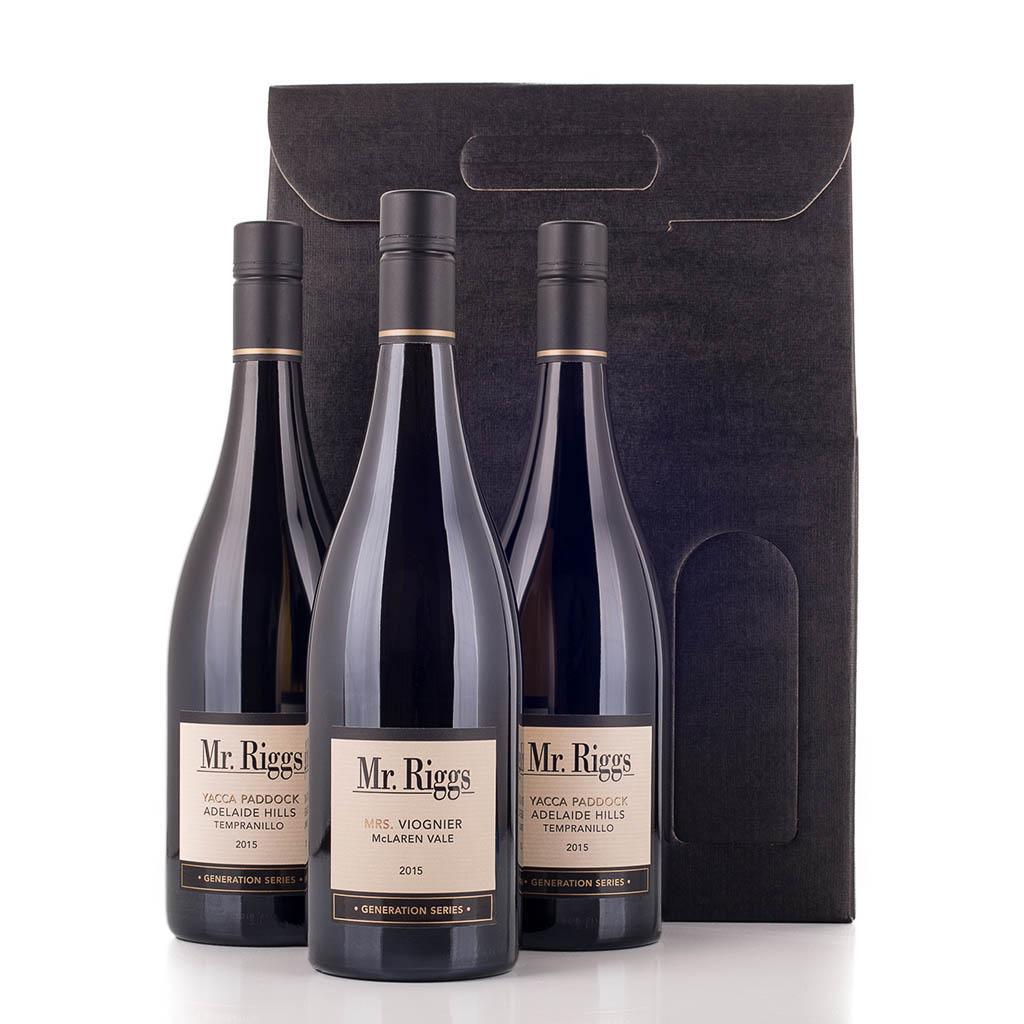 Vingave i gaveæske med 3 flasker Mr Riggs