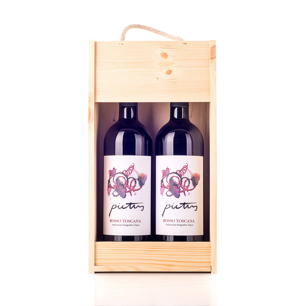 Vingave i træ med 2 flasker Pictus Il Cellese IGT