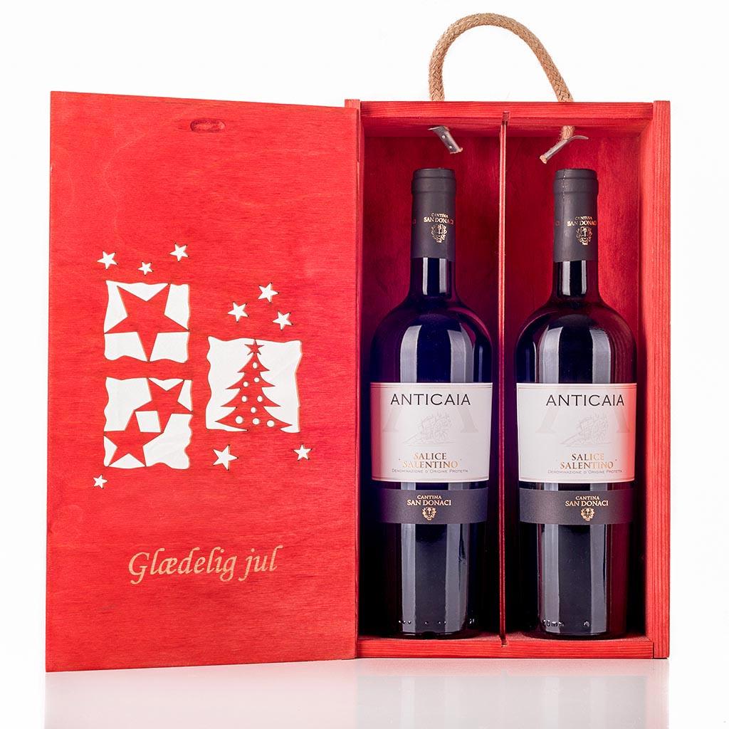 Julevingave i træ med 2 flasker Salice Salentino