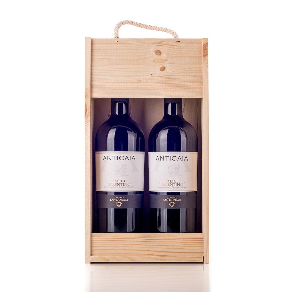 Vingave i træ med 2 flasker Salice Salentino
