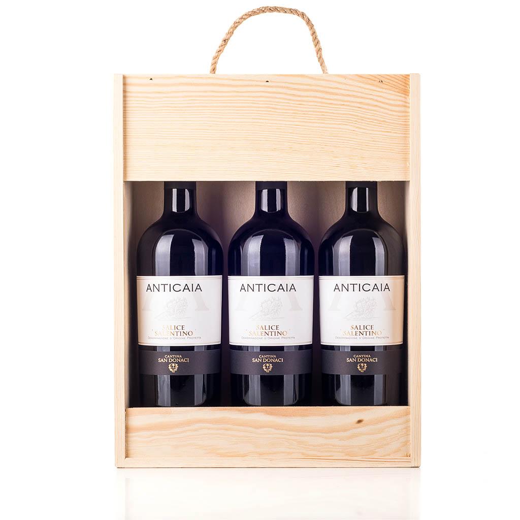 Vingave i træ med 3 flasker Salice Salentino