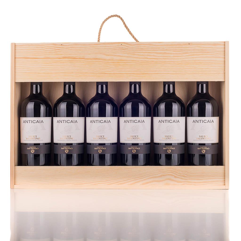 Vingave i træ med 6 flasker Salice Salentino