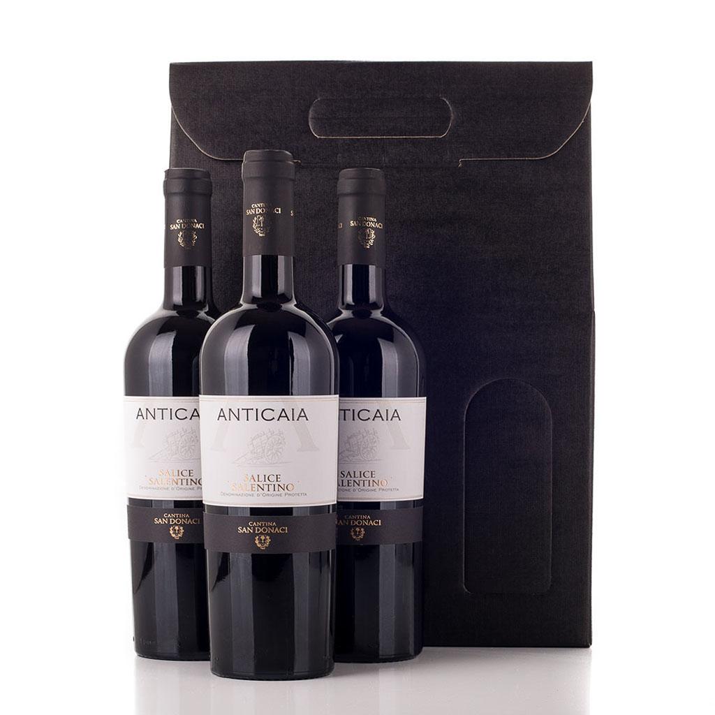 Vingave i gaveæske med 3 flasker Salice Salentino